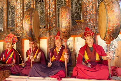 Monk musicians perform at ceremony, Gangtey Gonpa, Bhutan.
