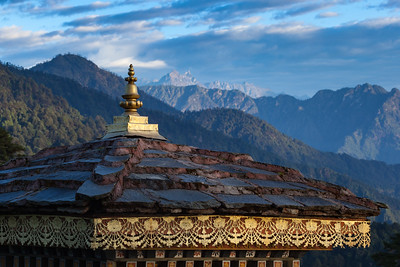 The view over a chorten at the Himalayan foothills, Bhutan.