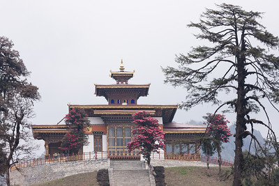 Druk Wangyal Lhakhang (temple) on a foggy day, Dochula pass, Bhutan.