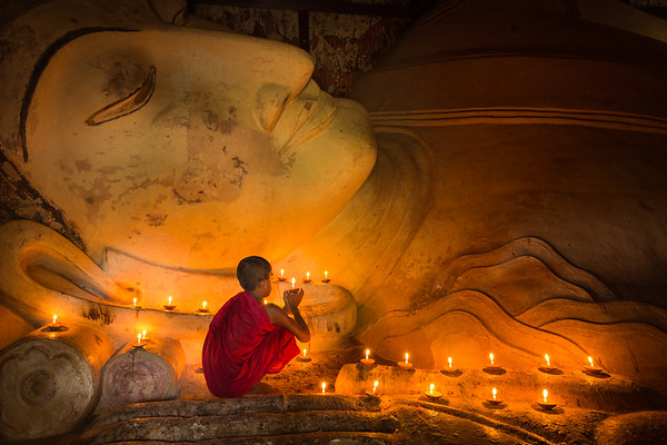 Monk and Reclining Buddha.