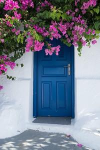 Blue Door and Bougainvillea