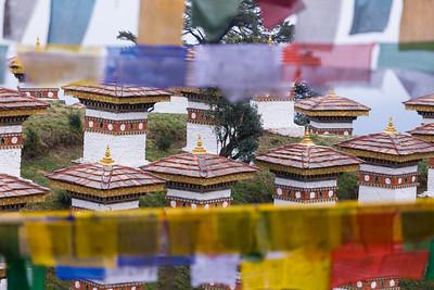 Prayer Flags and Stupas, Dochu La, Bhutan.