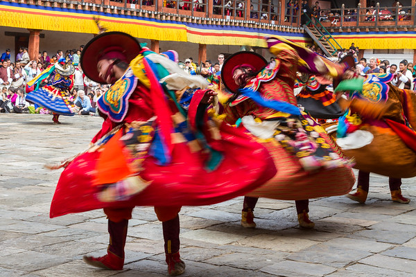 Monks dancing ceremonial dances, Bhutan.