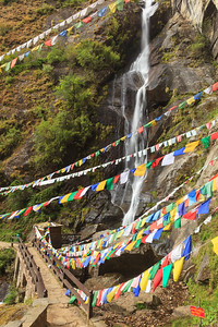 Prayer Flags and waterfall, Tiger's Nest, Bhutan.