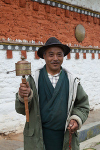 Portrait of a friendly Buddhist devotee, Bhutan.