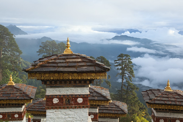 Stupa overlooking mountain valleys, Bhutan.
