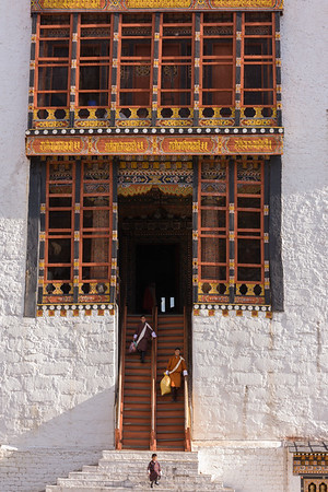 Entrance to  Tashichho Dzong in Thimphu, Bhutan.