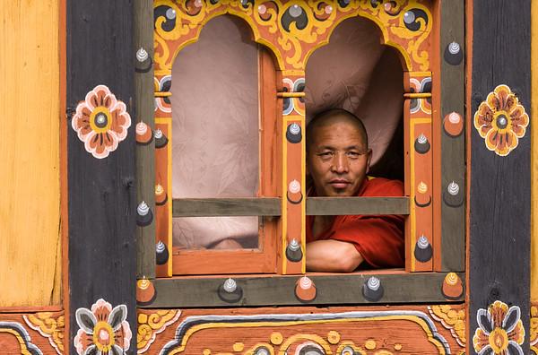 Man in window, Rinpung Dzong, Paro, Bhutan.