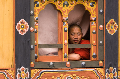 Man in window, Rinpung Dzong, Paro, Bhutan.