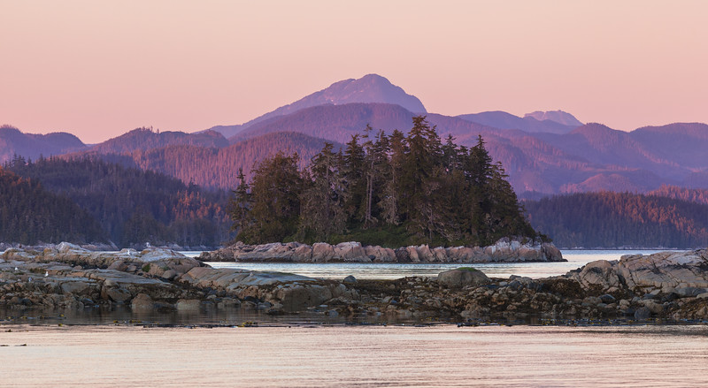 Subtle pink sunset, British Columbia.
