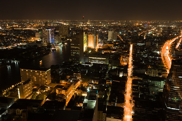 Night view of Bangkok's skyline.