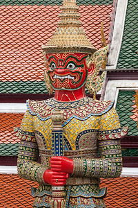 Detailed look at demon guardian at Temple of Emeral Buddha, Wat Phra Kaew.