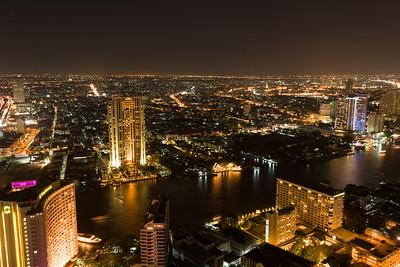 Night view of Bangkok's skyline.