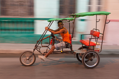 Happy Bicycle Taxi Driver
