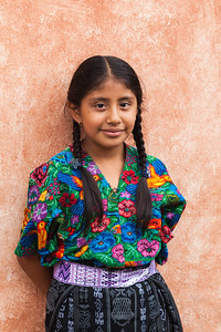 Young girl in traditional dress, Guatemala.