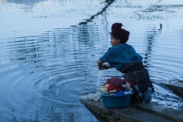 Doing the daily washing at Lake Atitlán.