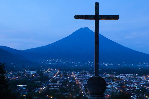 Cross and Volcano Agua, Antigua.