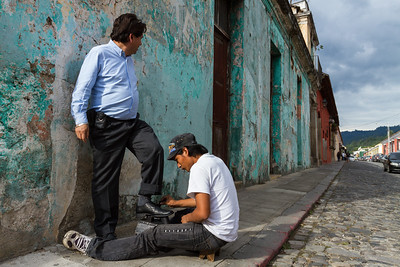 Shoeshine on the streets of Antigua.