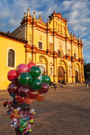 Balloon Vendor and Cathedral, San Cristobal de las casas, Mexico.