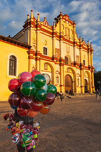 Balloon Vendor and Cathedral, San Cristobal de las casas, Mexico.