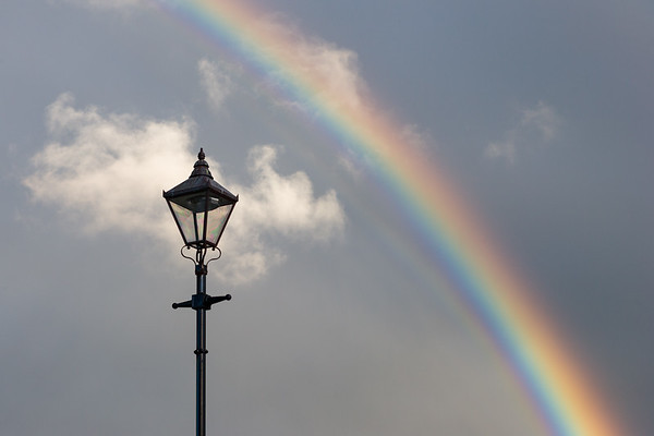 Rainbow over lamppost, Ireland.