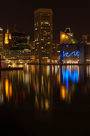 Baltimore Harbor at night.