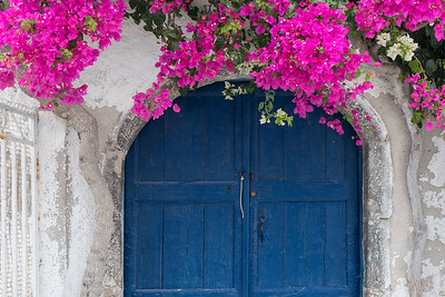 Bougainvillea and Blue Doors, Santorini.