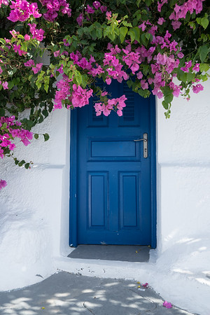 Blue Door and Bougainvillea