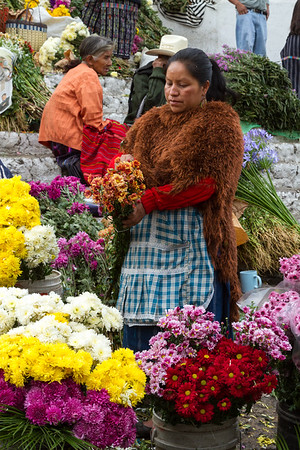 Flower market in Chichicastenango.