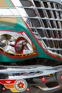 Brightly painted front of bus, Guatemala.