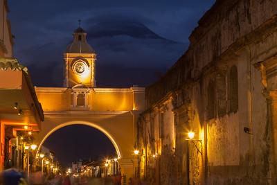 Santa Catalina Arch at twilight, Guatemala.