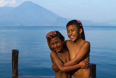 Wet, happy boys at the lake, Atitlán.