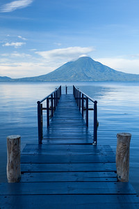 Pier and Volcano, Lake Atitlan