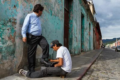 Shoeshine on the streets of Antigua.