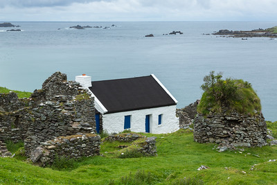 White Cottage on Blasket Island, western Ireland.