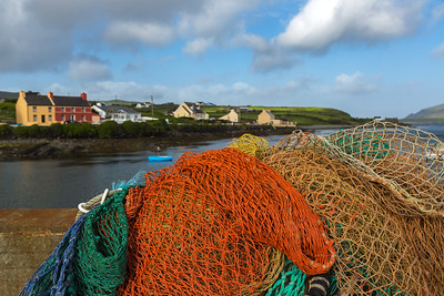 Village of Portmagee, Ireland, viewed from fishing dock.