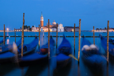 Blurred motion of Gondolas, Venice, Italy.