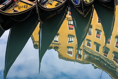 Reflections of Gondolas, Venice.
