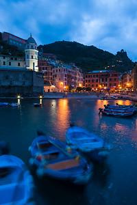 Twilight over Vernazza, Italy.