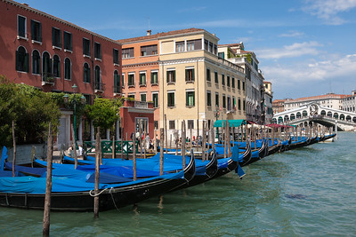 Gondolas parked along the Grand Canal, Italy.