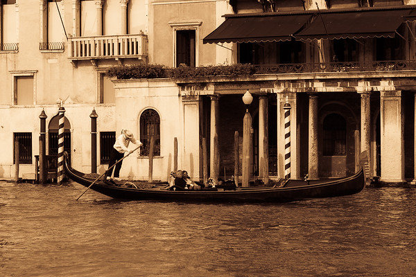 Aged photo effect of Gondolas, Italiy.