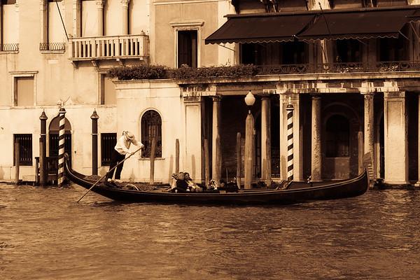 Aged photo effect of Gondolas, Italiy.