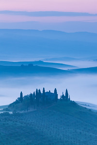 Foggy Dawn, central Tuscany, Italy.