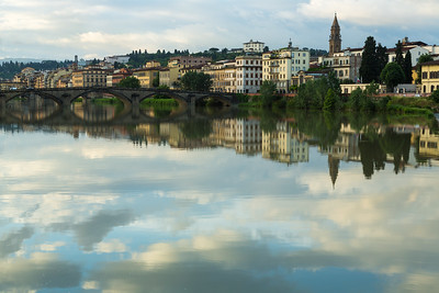 Tranquil reflections of Florence, Italy.