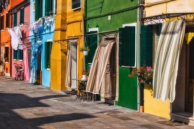Colorful homes on Burano Island, Venice, Italy.