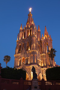 Mexico, San Miguel de Allende. Cathedral of San Miguel Archangel lit up at night.
