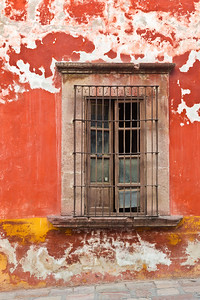 Rustic window and wall, Mexico.