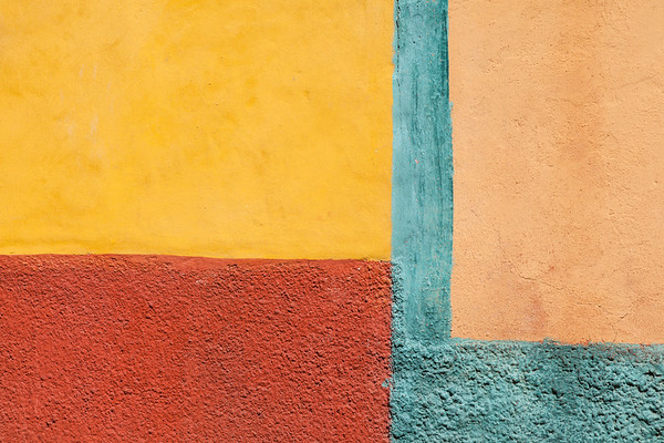 Colorful shapes on stucco walls, San Miguel de Allende.