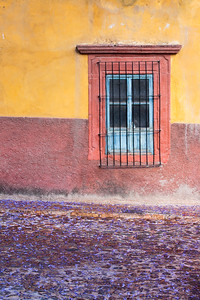 Colorful stucco house on street carpeted with flowers.