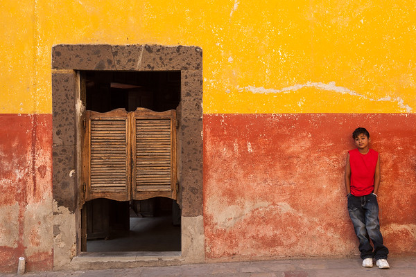 Boy and Saloon Doors, Mexico.